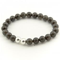 Bracelet homme oeil de chat noir 8 mm pierres rondes