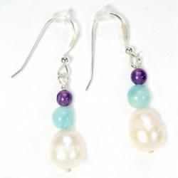Perle ovale amazonite ronde lisse et améthyste lisse boucle d'oreille argent massif