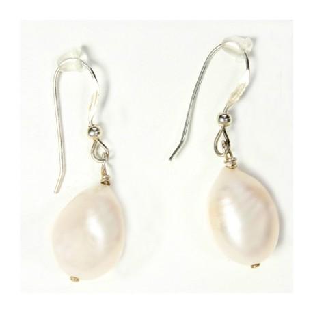 Perle ovale Boucles d'oreilles argent massif 925