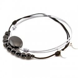 Ensemble 2 bracelets cordon noir 12 Onyx facettés et une pierre onyx galet cordon gris pendant argent