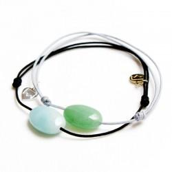 Ensemble 2 bracelets cordon noir amazonite et gris aventurine verte