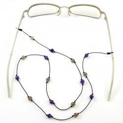 Cordon pour lunettes avec 16 pierres améthystes, quartz fumés