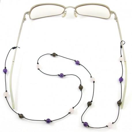 Cordon noir pour lunettes avec 16 pierres améthystes quartz fumés et quartz rose