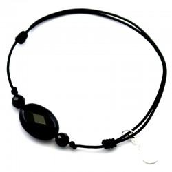 Bracelet 3 pierres onyx facettés cordon noir pendant argent massif 925