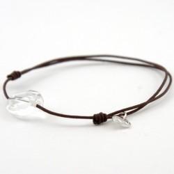 Bracelet cordon marron cristal de roche facettée