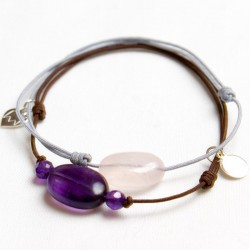 Ensemble 2 bracelets cordon marron 3 Améthystes et gris 1 quartz rose