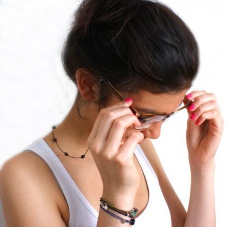 Cordon pour lunettes avec 16 pierres onyx