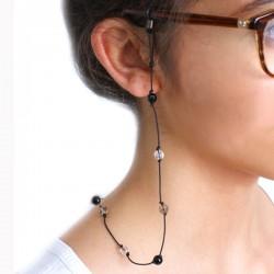 Cordon pour lunettes avec 16 pierres onyx - quartz fumés - cristal de roches