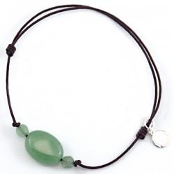 Bracelet 3 Aventurines vertes cordon marron pendant argent massif 925