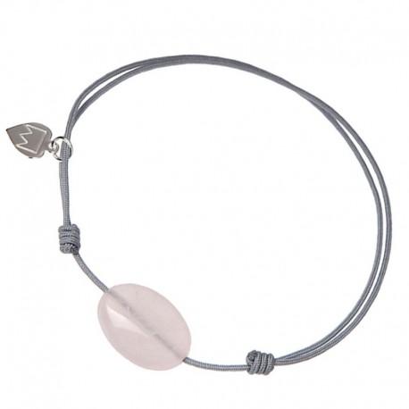 Bracelet Quartz rose cordon Gris
