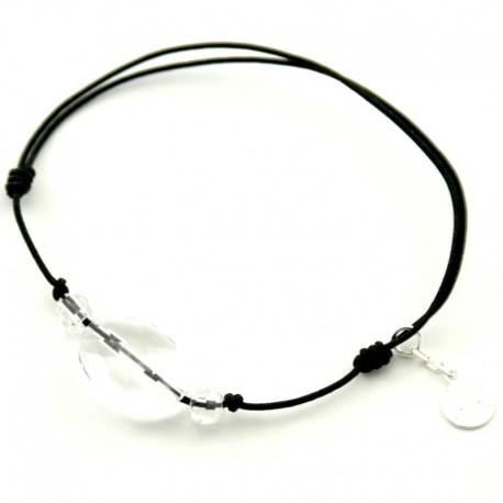Bracelet 3 pierres cristal de roches facettés cordon noir pendant argent massif 925