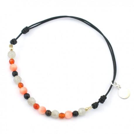 Bracelet cordon noir multi-pierres