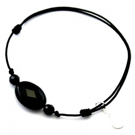 Bracelet cordon gris 3 cristal de roches facettés