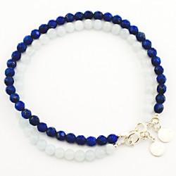 Ensemble 2 bracelets aigues marines et lapis lazulis facettés