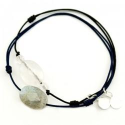Ensemble 2 bracelets cordon noir Labradorite facettée et 3 quartz rose facettées