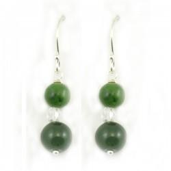 Boucles d'oreilles 2 jades et cristal de roche tige argent massif