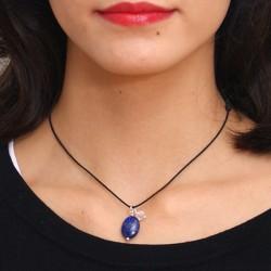 Collier cordon noir Lapis lazuli fermoir argent massif