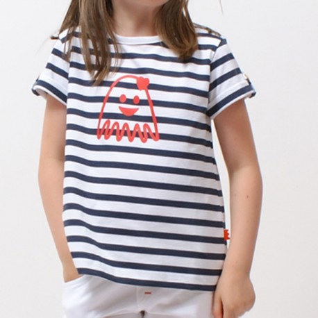 T-shirt EMMA rayure marin imprimé pieuvre fiancée jersey coton bio