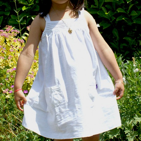 Robe BLANCHE à bretelle large coton bio