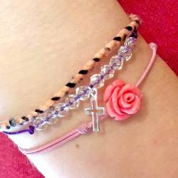 Bracelet cordon violet cristaux de roches