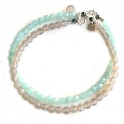 Ensemble 2 bracelets jades et amazonites