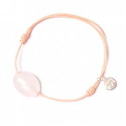 Bracelet cordon noir Quartz rose pendant argent massif