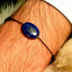 Bracelet homme cordon Noir Lapis Lazulis