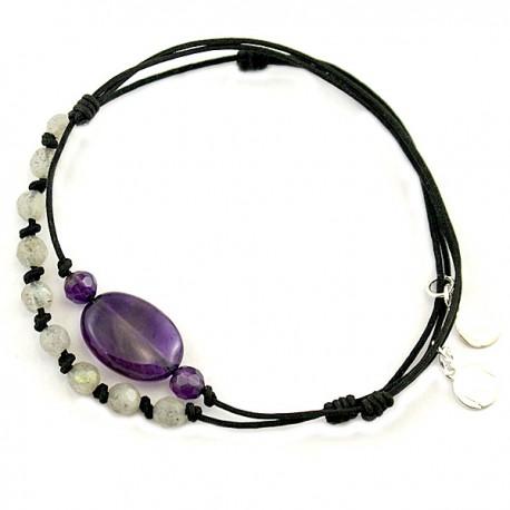 Ensemble 2 bracelets cordon marron 3 Améthystes et gris 1 quartz rose