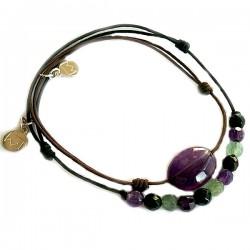 Ensemble 2 bracelets cordon gris 3 aventurine facettées et marron labradorite facettée