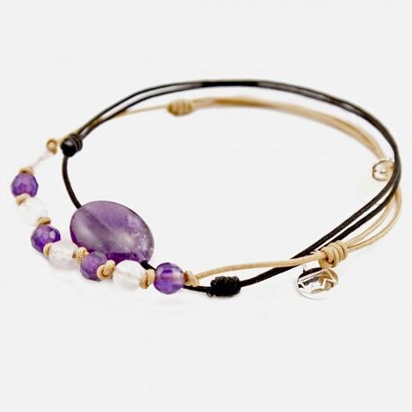 Ensemble 2 bracelets cordon gold 4 Améthystes, 4 quartz roses et cordon noir améthyste