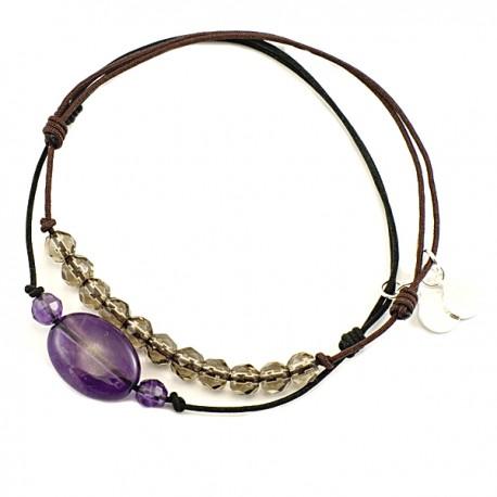 Ensemble 2 bracelets cordon noir 3 améthystes et marron 11 quartz fumés
