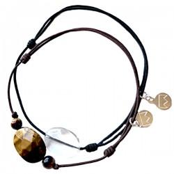 Ensemble 2 bracelets cordon gris Lapis lazuli et noir labradorite