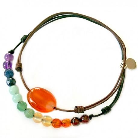 Ensemble 2 bracelets cornaline cordon marron et 7 chakras cordon noir