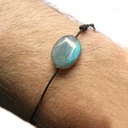 Bracelet homme Labradorite cordon gris