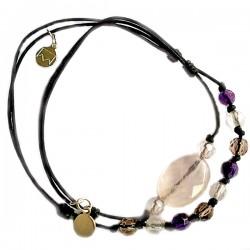Ensemble 2 bracelets cordon labradorite et cristal de roche