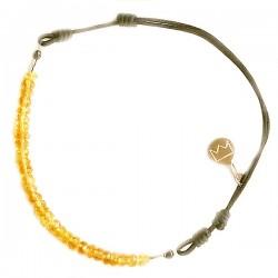 Bracelet cordon citrine taillée à la main