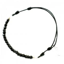 Bracelet cordon Spinelle taillée à la main