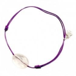 Bracelet cordon noir Labradorite pendant argent massif