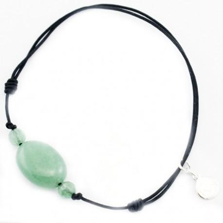 Bracelet 3 Aventurines vertes cordon noir pendant argent massif 925
