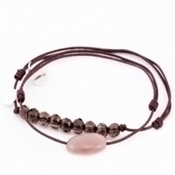 Ensemble 2 bracelets cordon marron Pierre de lune facettée / Quatrz fumé