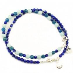 Ensemble 2 bracelets labradorites et lapis lazulis