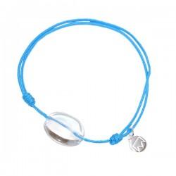 Bracelet cordon noir Onyx pendant argent massif