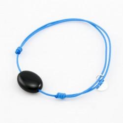 Bracelet cordon turquoise Onyx pendant argent