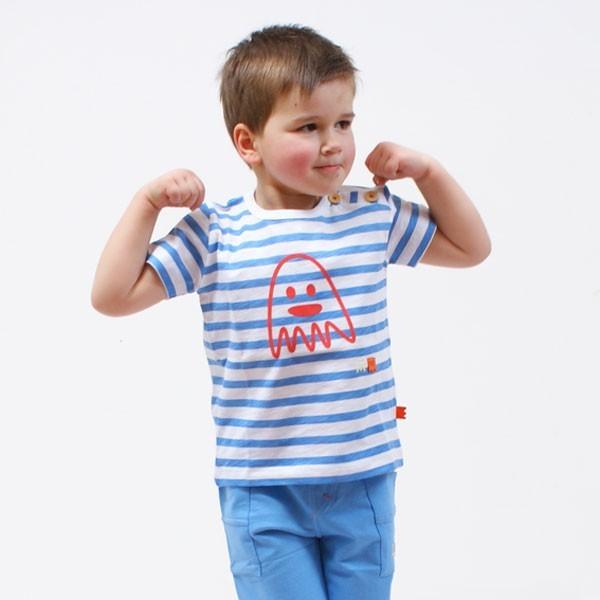 t shirt enfant gar on marin ray blanc marine imprim jersey coton bio adrien. Black Bedroom Furniture Sets. Home Design Ideas