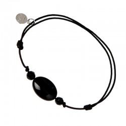 Bracelet 3 pierres onyx cordon noir pendant argent massif 925