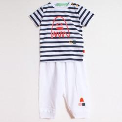 Ensemble Adrien et Bobby T-shirt rayé et Pantalon 3/4 marine