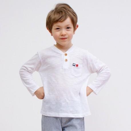 T-shirt BOB manches longues col tunisien coton flammé bio