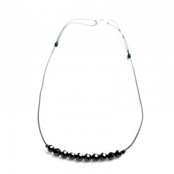 Collier 15 Onyx facettés cordon ajustable fermoir argent 925