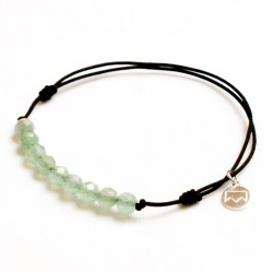 Bracelet cordon noir 11 Aventurines vertes facettées
