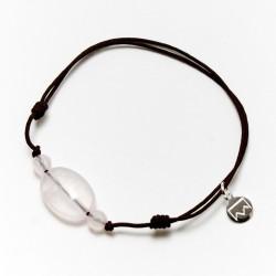 Bracelet 3 Quartz roses cordon noir pendant argent massif 925